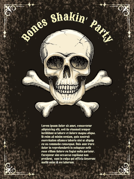 Template posters for the party, halloween. skull and crossbones. vector illustration Free Vector