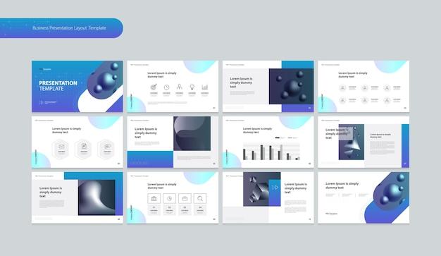 Макет презентации шаблона с элементами инфографики Premium векторы