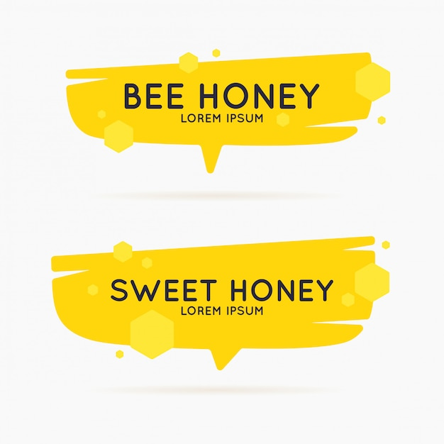 The template for the products of the apiary. stylish vector poster for bee honey. Premium Vector