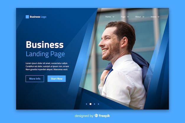 Template professional landing page with photo Free Vector