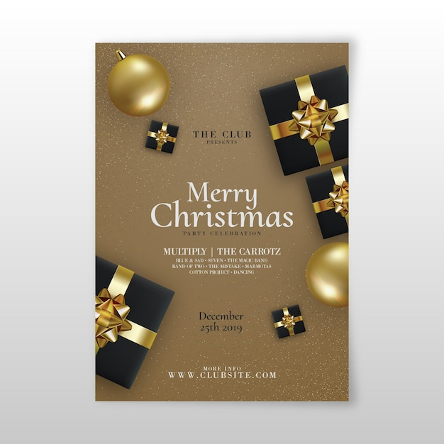 Template realistic christmas party flyer Free Vector