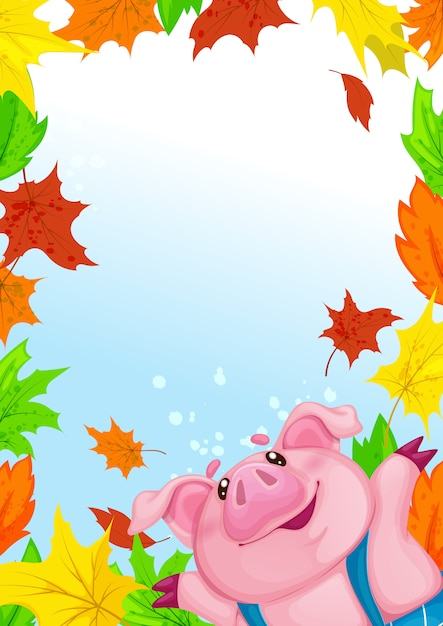 Template rectangular with funny piggy and fallen colorful autumn leaves. Premium Vector