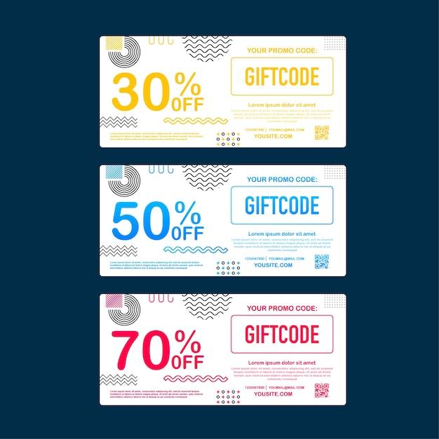 テンプレートの赤と青のギフトカード。プロモーションコード。クーポンコード付きギフト券。ストックイラスト。 Premiumベクター