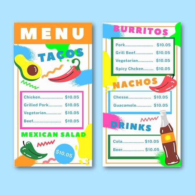 Template restaurant colorful menu Free Vector
