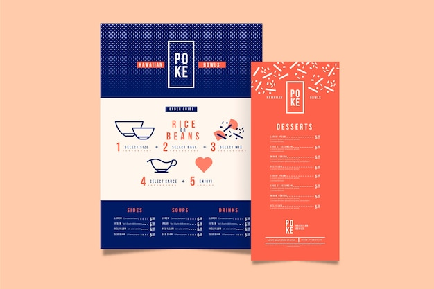 Template restaurant colorful menu Free Vector