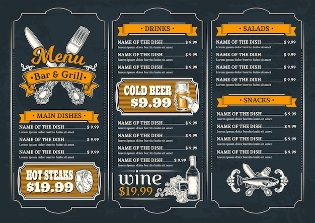 Template for the restaurant menu Free Vector