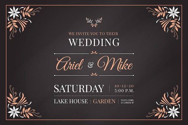 Template retro wedding invitation Free Vector