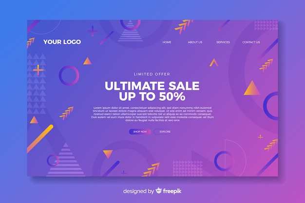 Template sales abstract landing page Free Vector