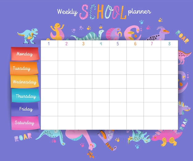 Template school timetable for students or pupils with days of week and free spaces Premium Vector