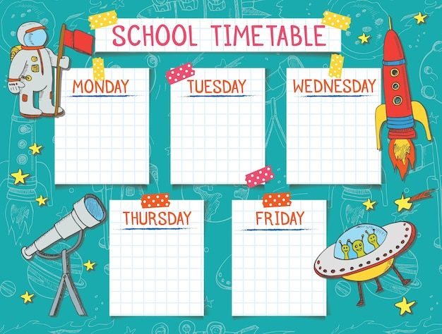Template school timetable for students or pupils. Premium Vector