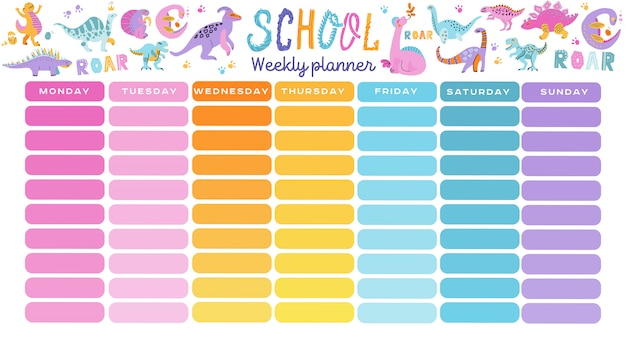 Template school timetable with hand drawn cartoon dino characters Premium Vector