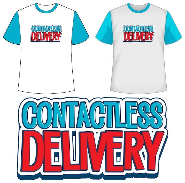 非接触型配信アイコン付きテンプレートシャツ 無料ベクター