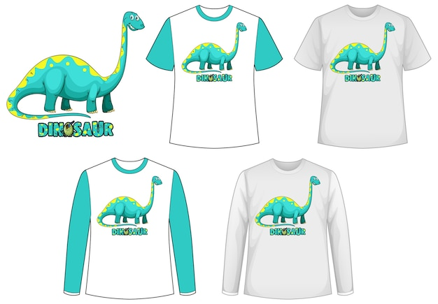 Template shirt with dinosaur cartoon character Free Vector