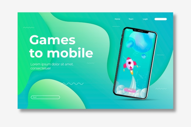 Template smartphone landing page Free Vector