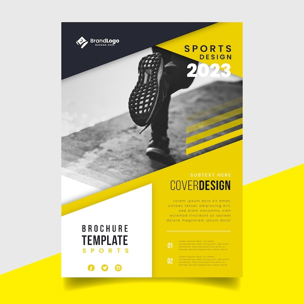 Template sport flyer with image Free Vector
