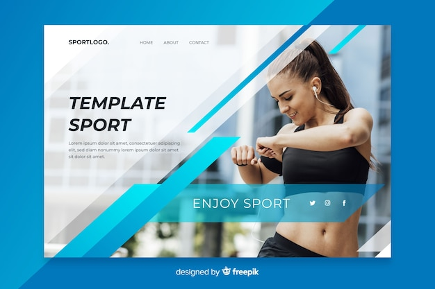 Template sport landing page Free Vector