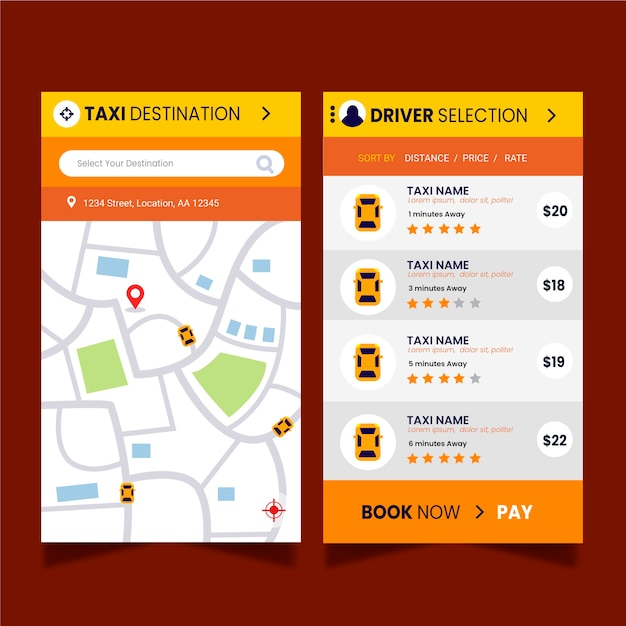 Template for taxi app interface Free Vector