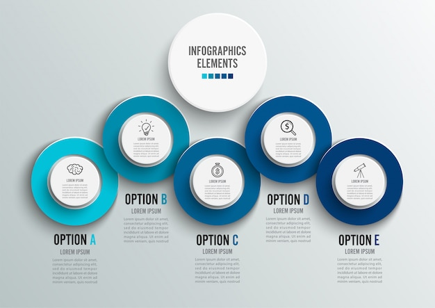 Template timeline infographic colored horizontal Premium Vector