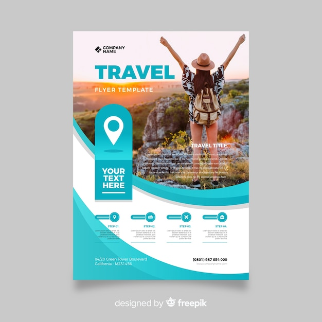 Template travel flyer with photo Free Vector
