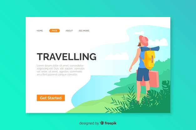 Template of travel landing page illustrated Free Vector