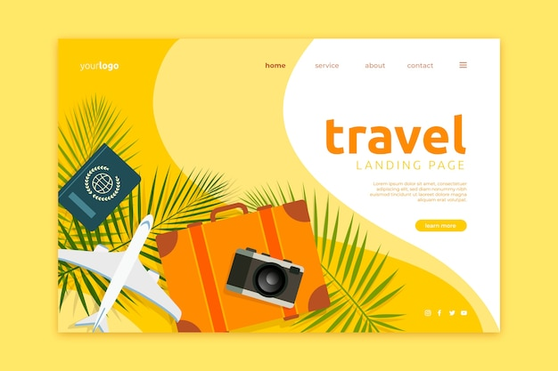 Template travel landing page Free Vector