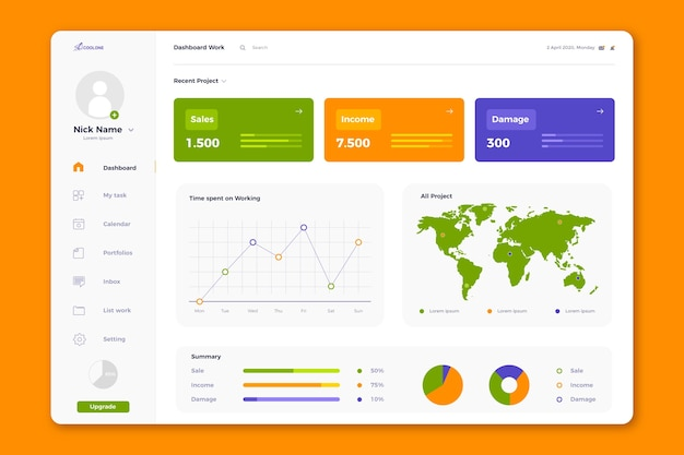 Template user panel dashboard Free Vector