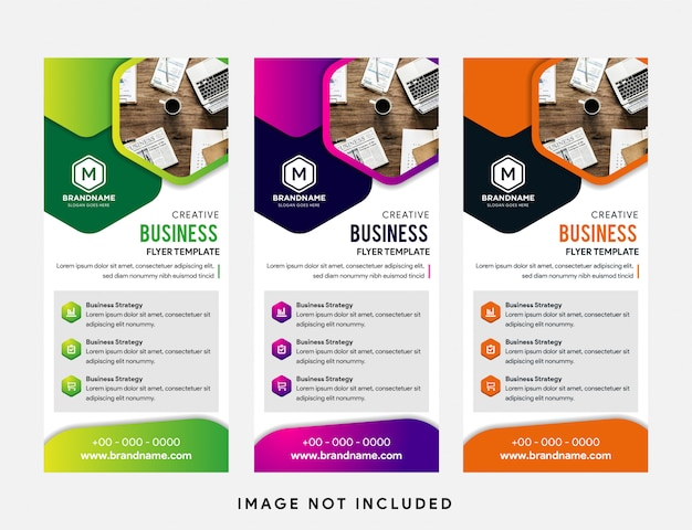 Template of vertical roll-up banner Premium Vector