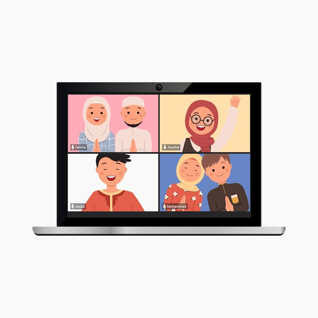 Template of video conference call in laptop mock up. virtual ramadan greeting online because of covid19 campaign. modern flat style vector. Premium Vector