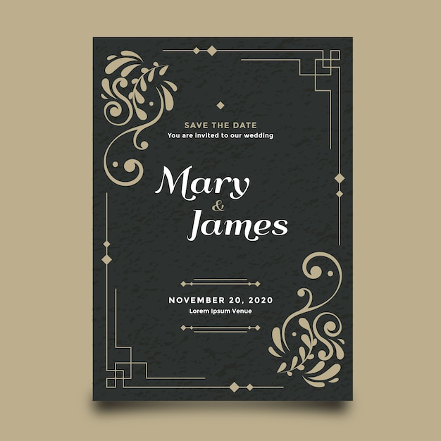 Template wedding invitation retro Free Vector