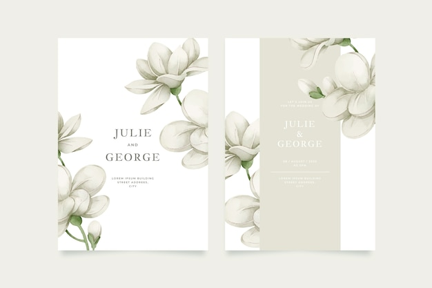 Template wedding invitation with big flower Free Vector