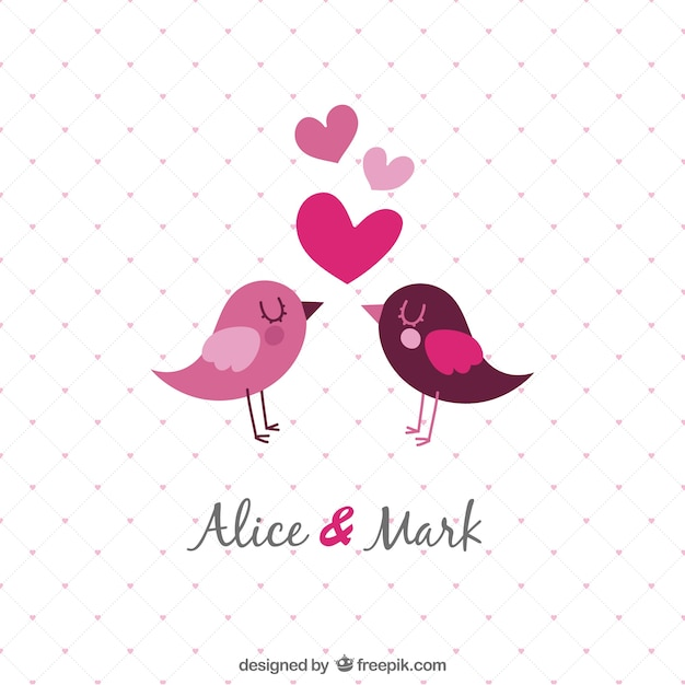 template wedding invitation with birds vector free download
