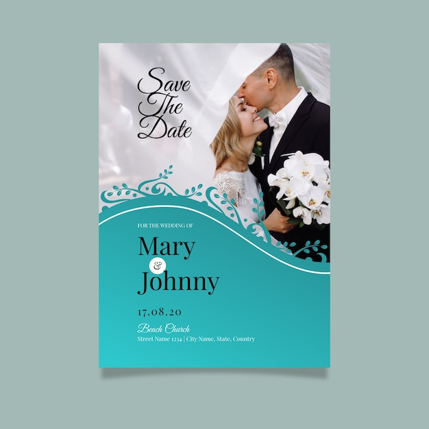 Template wedding invitation with image Free Vector