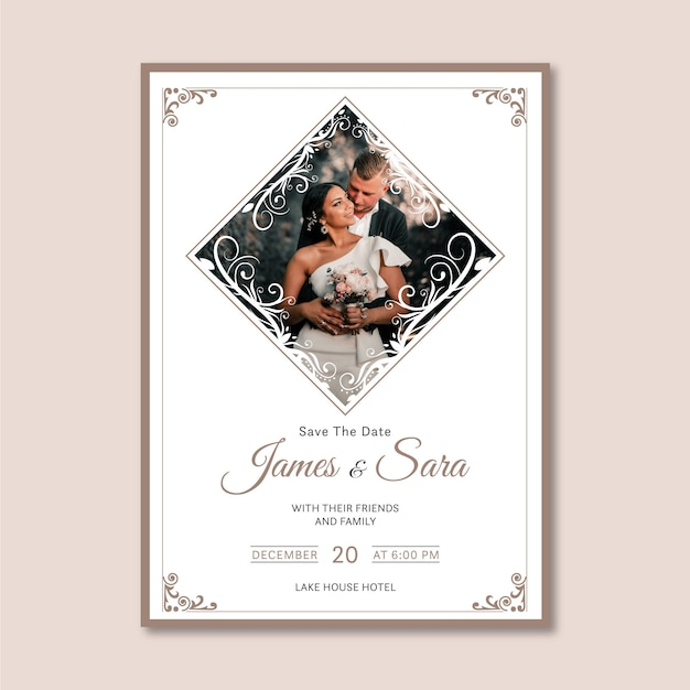 Template wedding invitation with photo Free Vector