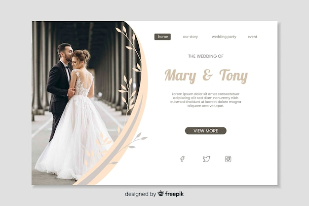 Template wedding landing page with image Free Vector