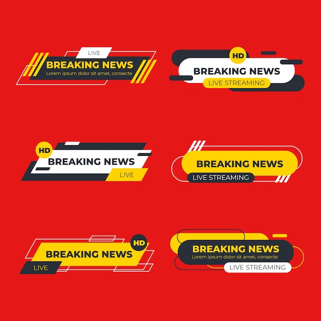 Template with breaking news concept Free Vector