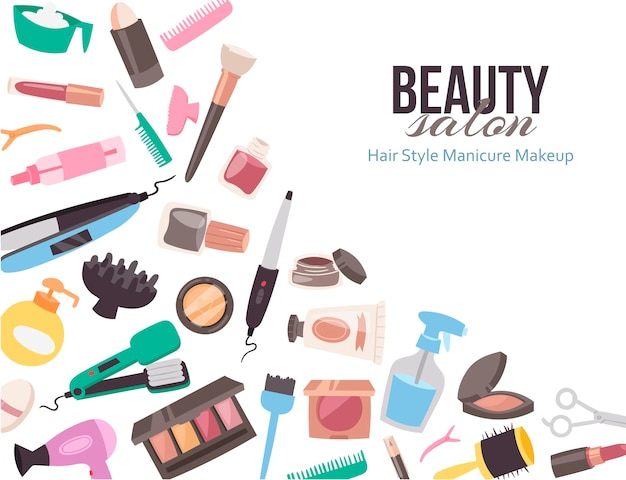 Template With Cartoon Accessories For Beauty Salon Or Brochure Premium Vector