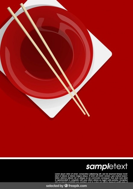Template with chinese bowl and chopsticks Free Vector