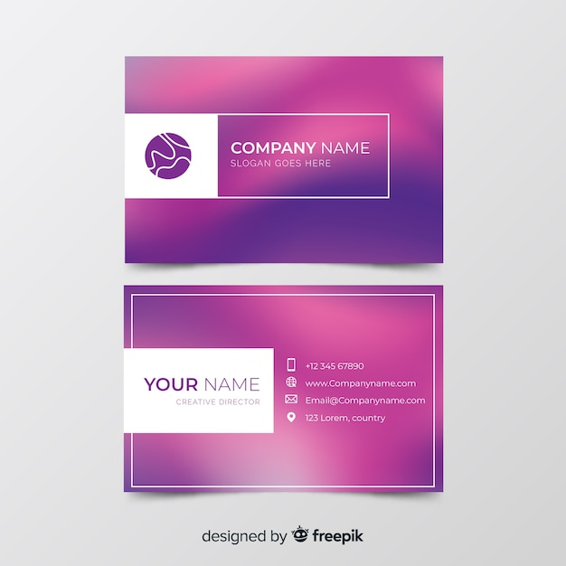 Template with gradient business card Free Vector