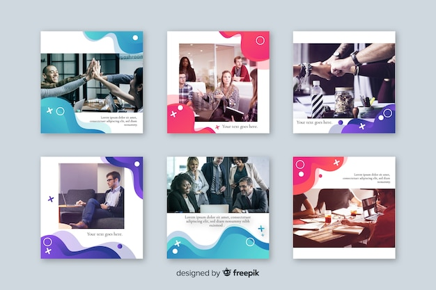 Template with instagram post collection Free Vector