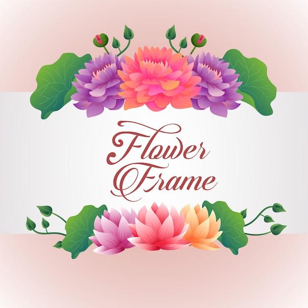 蓮の花をテーマにしたテンプレート 無料ベクター