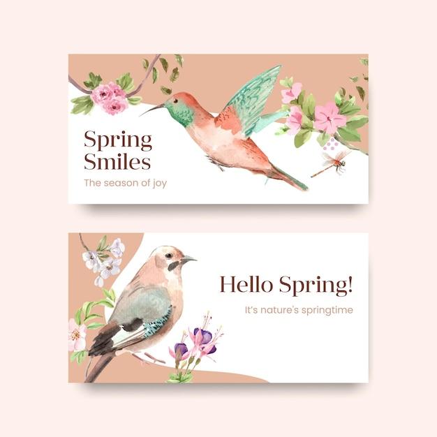 Шаблон с весенним и птичьим концептуальным дизайном для социальных сетей и акварельной иллюстрации сообщества Бесплатные векторы