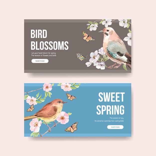 소셜 미디어 및 커뮤니티 수채화 그림을위한 봄과 새 컨셉 디자인 템플릿 무료 벡터