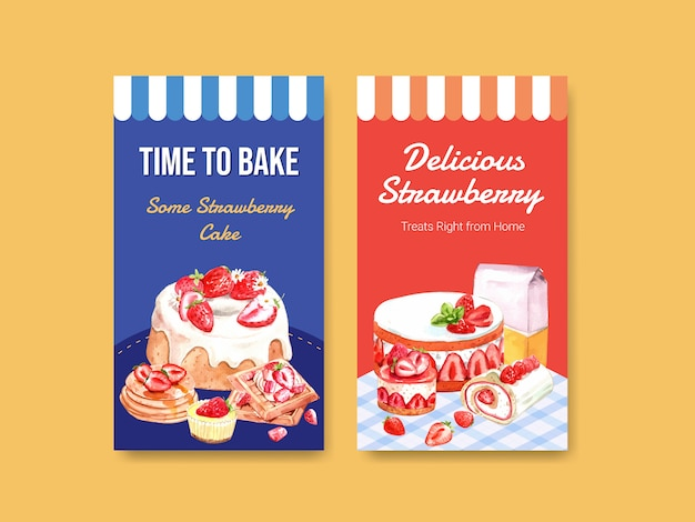 Template with strawberry baking design for social media, online community, internet and advertise watercolor illustration Free Vector