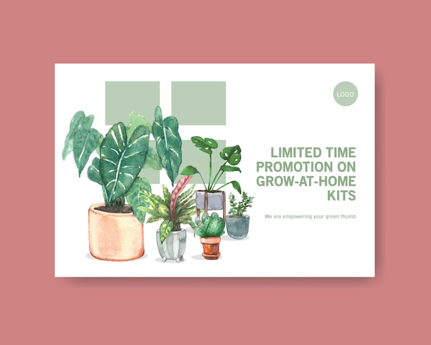 Template with summer plants design for social media, internet, web, online community and advertise watercolor illustration Free Vector