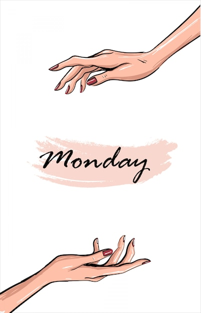Template with tender fashion hands and spot Premium Vector