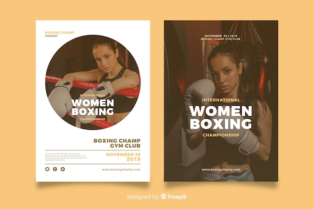 Template women boxing sport poster Free Vector