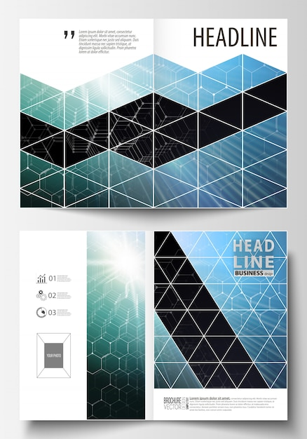 Templates for bi fold brochure, magazine, flyer or report. Premium Vector