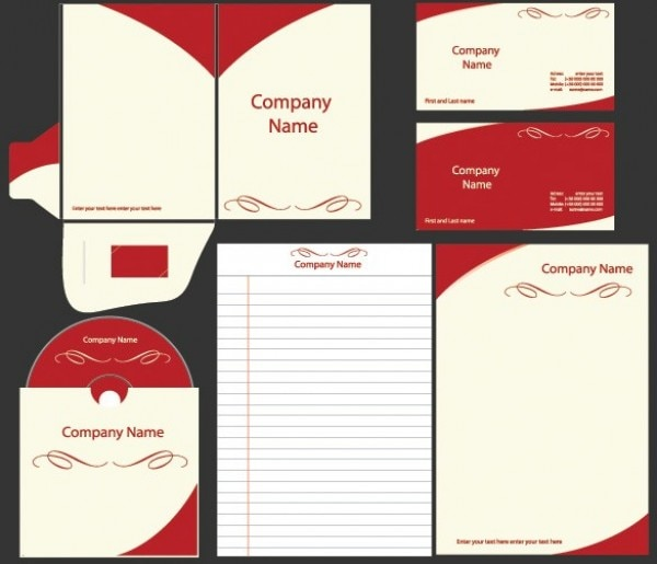 Templates for business with red garnishment Free Vector
