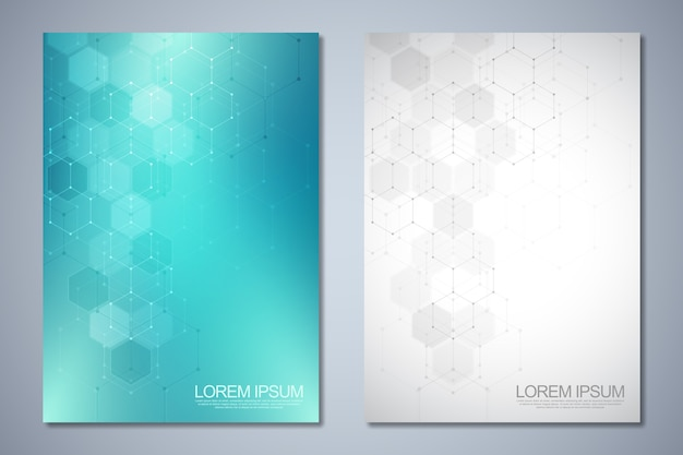 Templates for cover or brochure with abstract hexagons pattern. Premium Vector