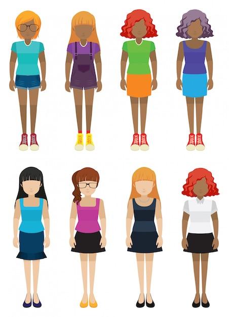 Modelli di ragazze senza volto Vettore gratuito